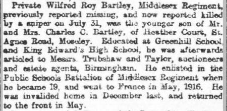 Private Wilfred Roy Bartley