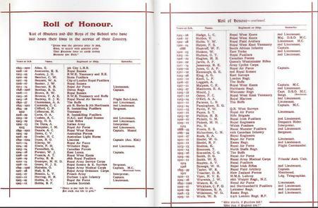 Skinners School Roll of Honour