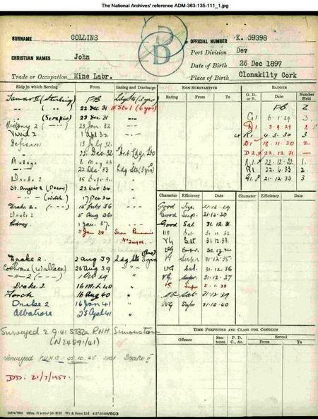 John Collins 1929-1945 RN service