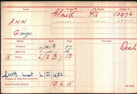 10976 Private George Ann's Medal Card