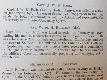 Captain W de H Robinson