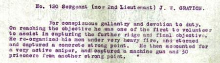 Detail of Jonathan William Gration DCM Citation