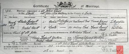 Marriage Certificate to Mabel Brett