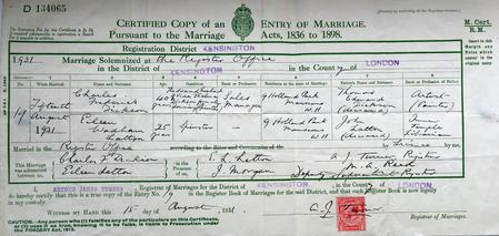 Marriage Certificate to Eileen Wadham Latton