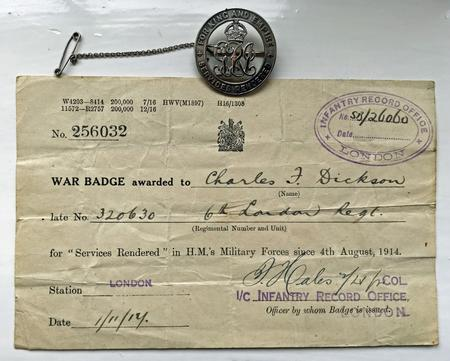 Silver War Badge and Certificate