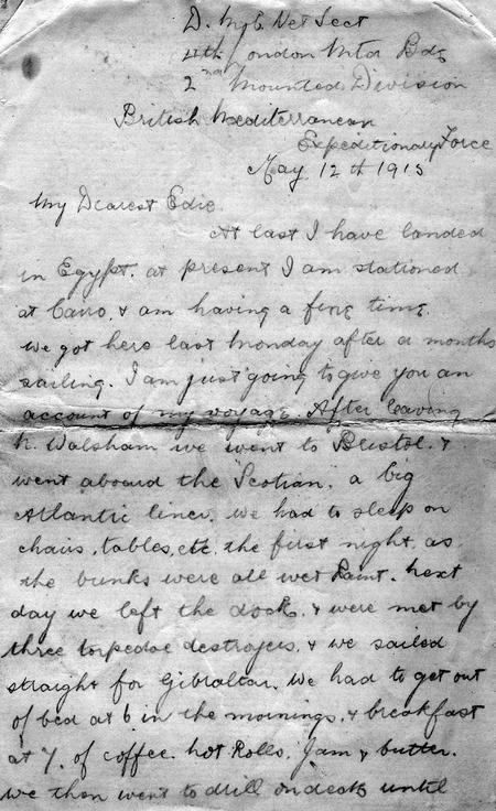 Letter: Pvt. Chappell to Edith Stanton May 1915
