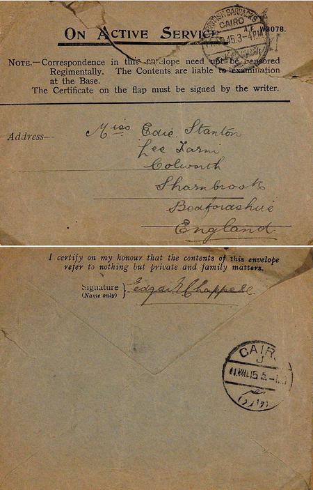 On Active Service privilege 'green' envelope