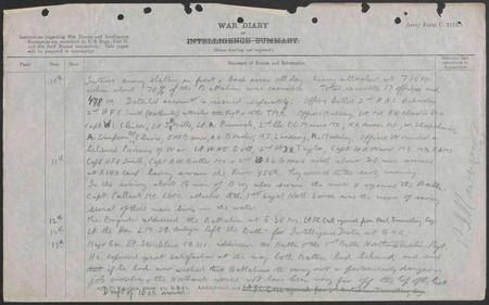 Diary entry as wounded and believed taken prisoner