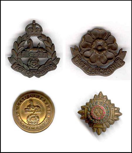 East Lancashire Regiment uniform insignia.