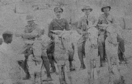 2/Lt E. G. Chappell at the pyramids, Cairo, 1916.