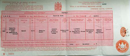 Mabel Brett Birth Certificate