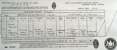 Kenneth A M Dickson Birth Certificate