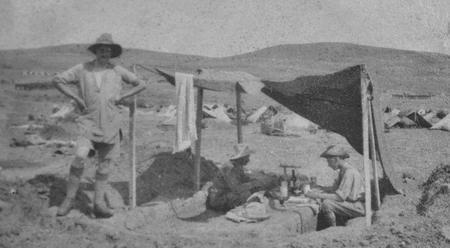 Officers at improvised mess, Salonika 1916.