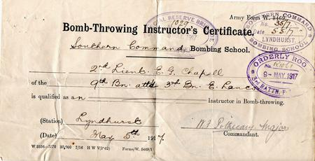2/Lt. Chappell bomb-throwing instructor.