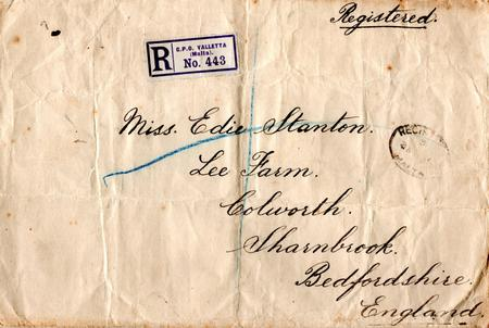 Registered envelope from Malta July 1915.