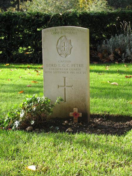 Alternative headstone memorial for Petre L G
