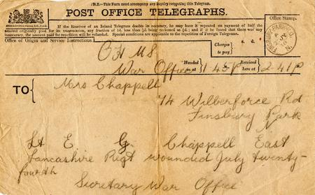 Lt Chappell wounded, P.O. Telegraph 25 July 1918.