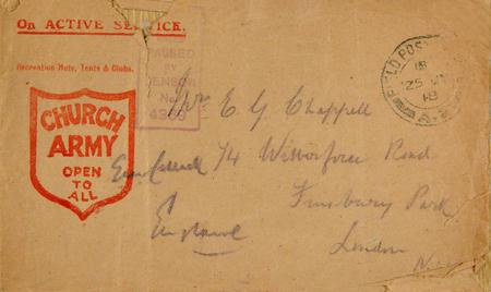 Church Army envelope from France 24.7.18.