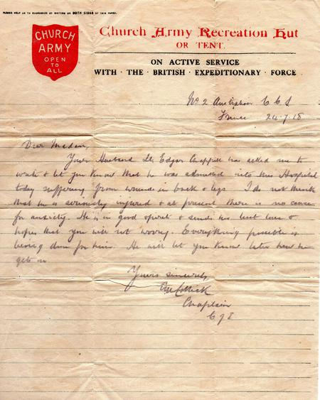 Church Army letter from France 24.7.1918