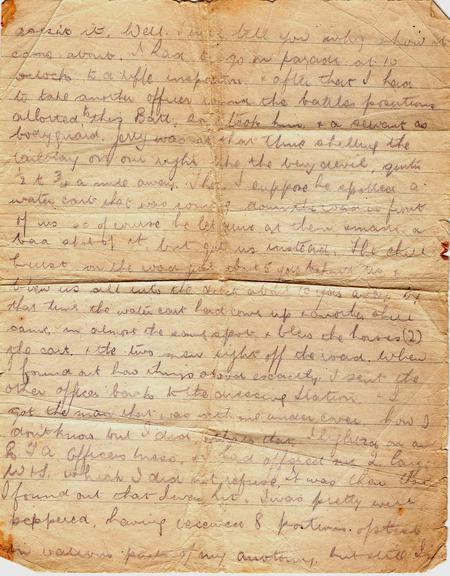 Letter from hospital, Calais, July 1918.