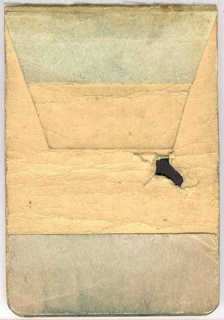 Shrapnel hole in Field Message Book.