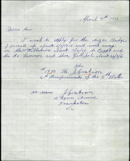 Letter From the 84-Year-Old John Gration