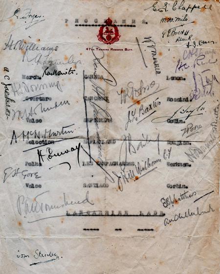Autographed programme, 47 Training Reserve Btn, 19