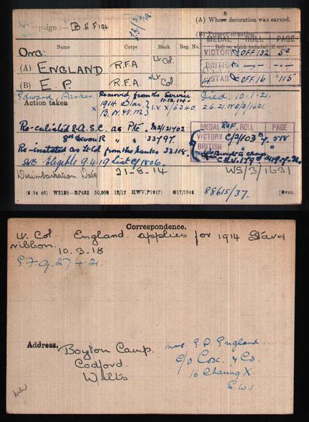 British Army WWI Medal Rolls Index Cards