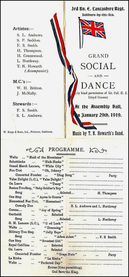 3 Bn. E. Lancs.. Regt. Social and Dance, 29/1/19.