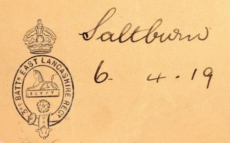 3rd Bn. E. Lancashire Regiment letterhead.