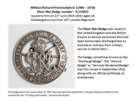 Profile picture for William Richard Pretoria Byford