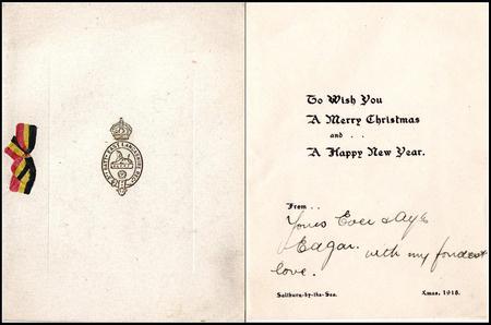3rd East Lancsashire Regiment Xmas Card, 1918