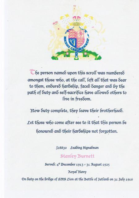 Scroll awarded to Sig Stanley Burnett