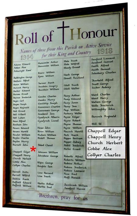 Roll of Honour, St. Peter's Church, Sharnbrook.