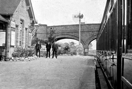 Edgar Chappell at Sharnbrook Station, 1920.
