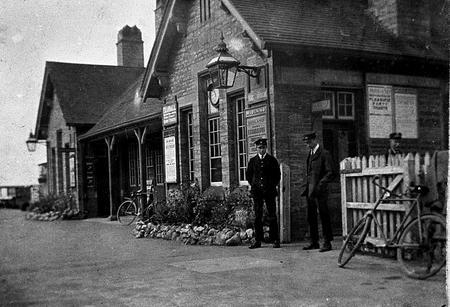 Edgar Chappell at Sharnbrook Station, 1920,