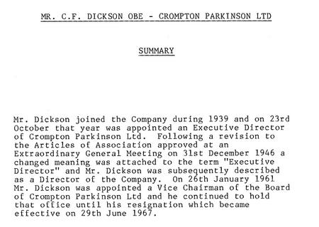 Summary of Charles' employment Crompton Parkinson