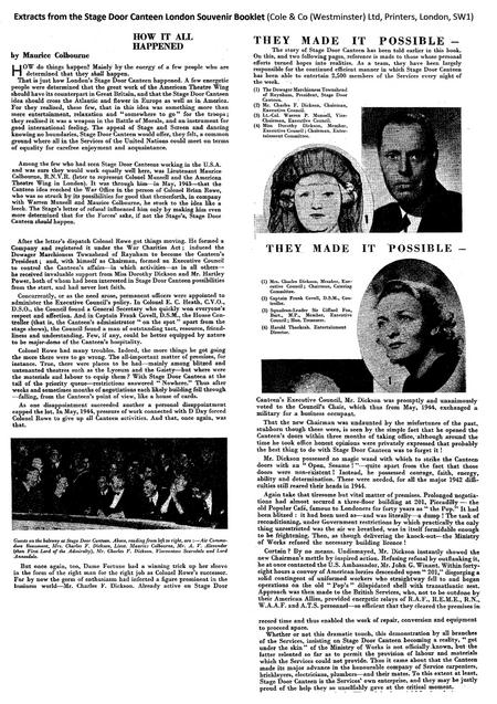 Extracts from Stage Door Canteen Souvenir Booklet