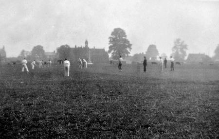 Cricket on Goldington Green, Bedfordshire, 1922.