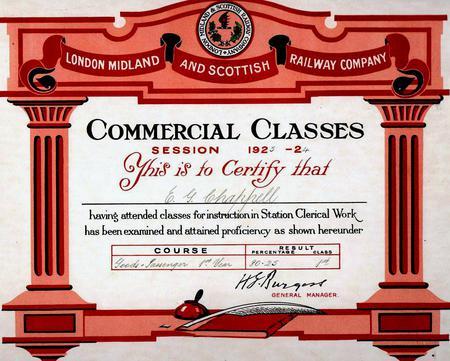 Railway Commercial Classes certificate, 1923-24.