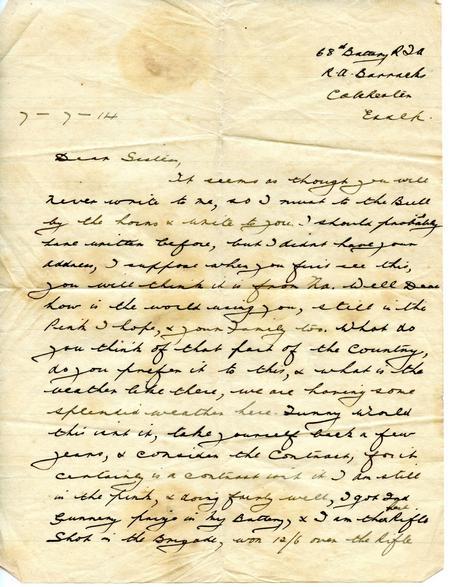Stanley Walker letter 7 July 1914