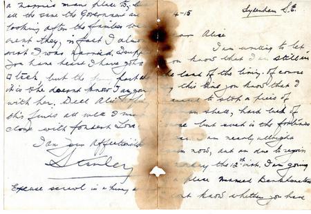Stanley Walker letter 10 April 1915
