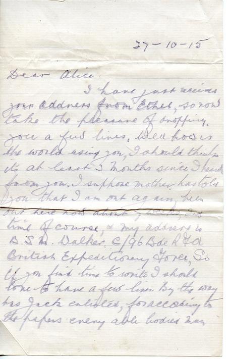 Stanley Walker letter 27 October 1915