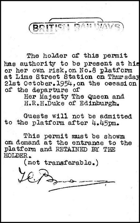 Platform permit, Liverpool Lime Street, 1954.