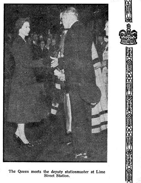 The Queen at Liverpool Station, October 1954.