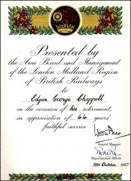 British Railways Service Certificate, 1957.