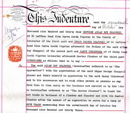 Roy Chappell's apprenticeship indenture, 1934.
