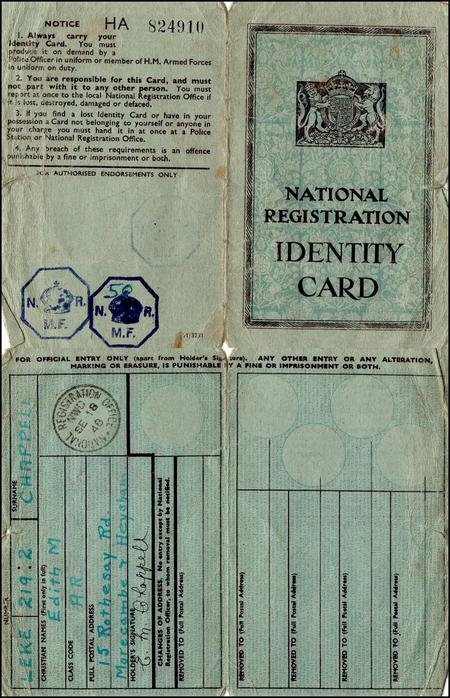 Edith Chappell's National Registration card.
