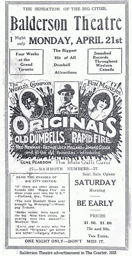 Balderson Theatre newspaper advertisement 1920s