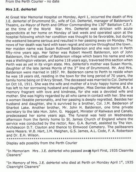 Mrs Susan Dehertel Death Notice